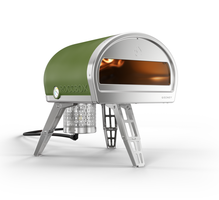 Left side view of a Roccbox pizza oven